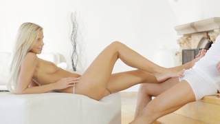 Blonde babe Dido Angel blows her mans dick with her talented mouth and takes him hard and deep in her tight bald pussy