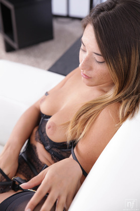 Freckled beauty Eva Lovia dresses in lacy lingerie to seduce her man into a wild fuckfest in her landing strip pussy
