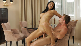 Buxom Russian babe Elena Rae uses her big tits to rub her guys dick then bends over for a doggy style bald pussy ride