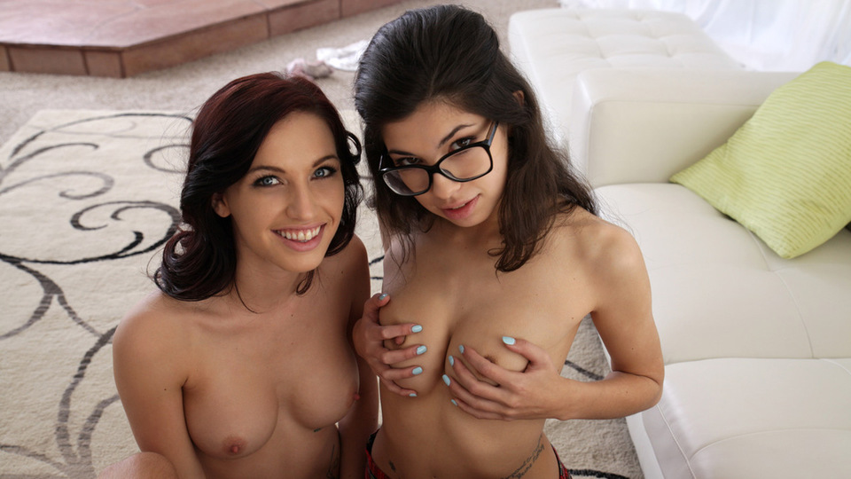 Dressed in a schoolgirl uniform Ava Taylor joins horny babe Mary Jane Jonson and her man in a juicy threesome fuck fest
