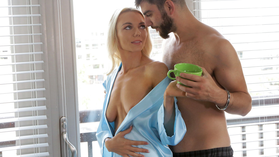 Molly Mae slips off her bathrobe and spreads her thighs to get her cock hungry bare pussy licked and fucked