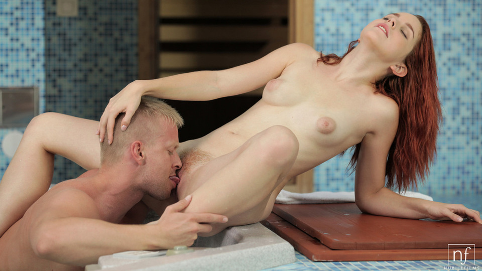 Cum craving redhead Amarna Miller gives a hungry eager blowjob and then gets her creamy wet pussy fucked in the hot tub
