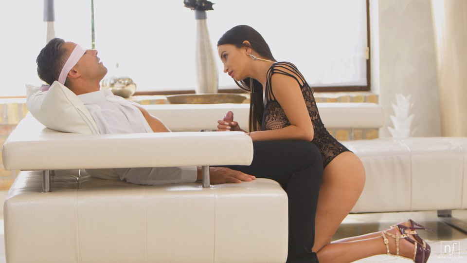 Alyssia Kent puts on sheer lingerie and high heels to seduce her blindfolded man into a stiffie ride in her bald pussy