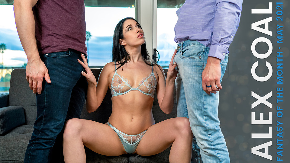 Nympho coed Alex Coal is living with two guys and cant choose which one to fuck so she goes for both in a threeway