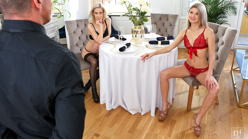 Cock craving babes Gina Gerson and Nesty dress in sheer lingerie to seduce their man into a hardcore horny threesome