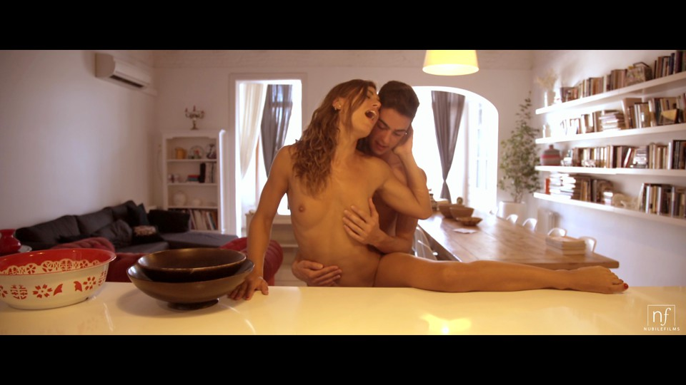 Hairy pussy beauty Julia Roca covers her small boobs with milk to entice her guy for a lusty hardcore kitchen fuck